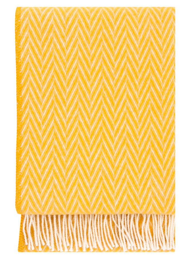 Lapuan Kankurit 100% wool blanket / plaid yellow-white Iida 130 x 200 cm