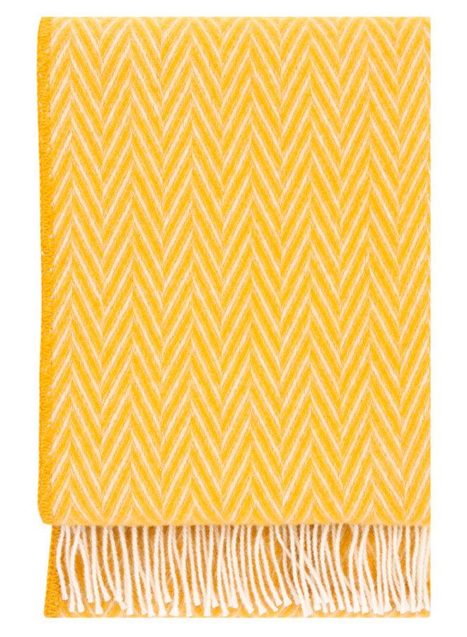 wool blanket yellow / white Iida