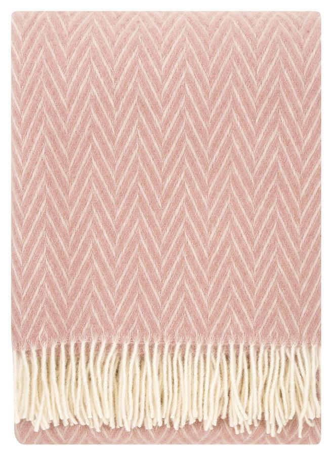 100% wollen deken/plaid rose-wit Iida 130 x 200 cm
