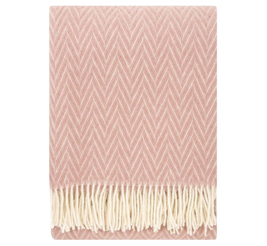100% wool blanket / plaid pink-white Iida 130 x 200 cm