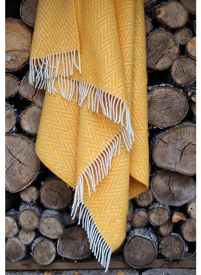 100% wool blanket / plaid yellow-white Iida 130 x 200 cm