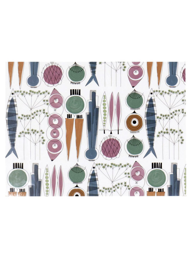 place mat Picnic vegetables and fish blue / pink