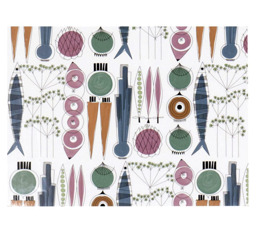 Picknick placemat met groenten en vis in Scandinavische kleuren