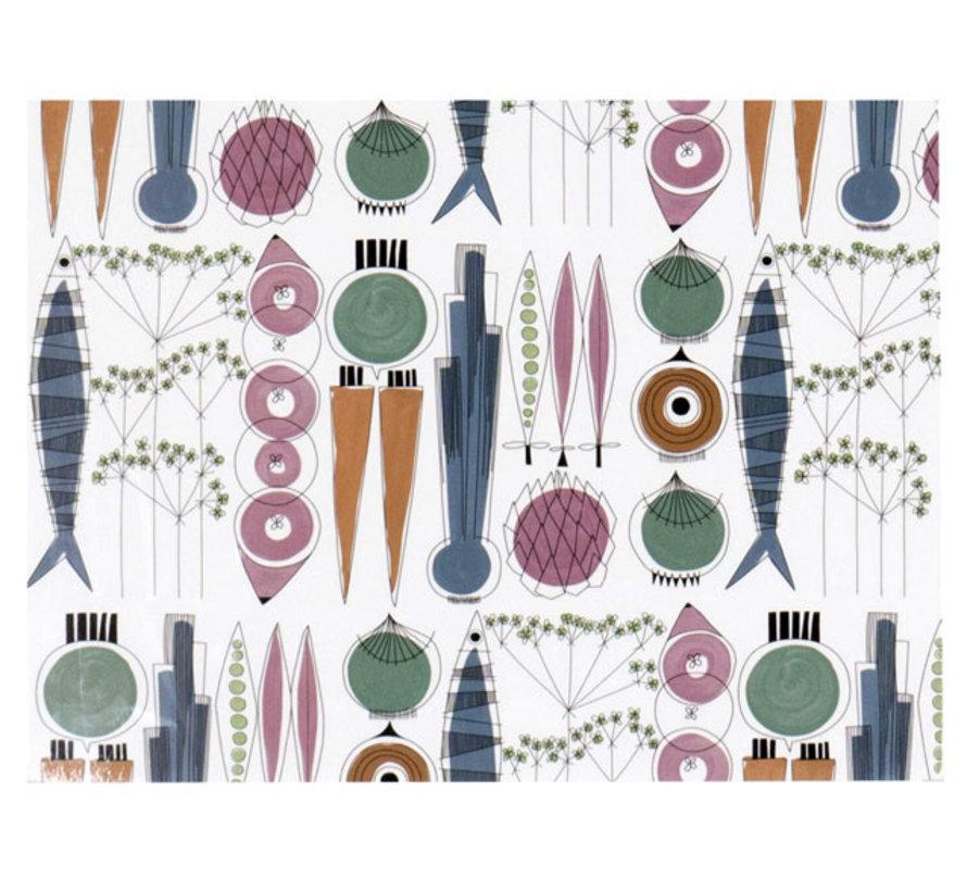 Picknick-Tischset mit Gemüse und Fisch in skandinavischen Farben