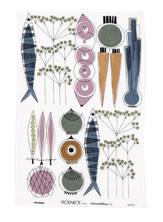 Picnic tea towel with vegetables and fish pattern Scandinavian colors