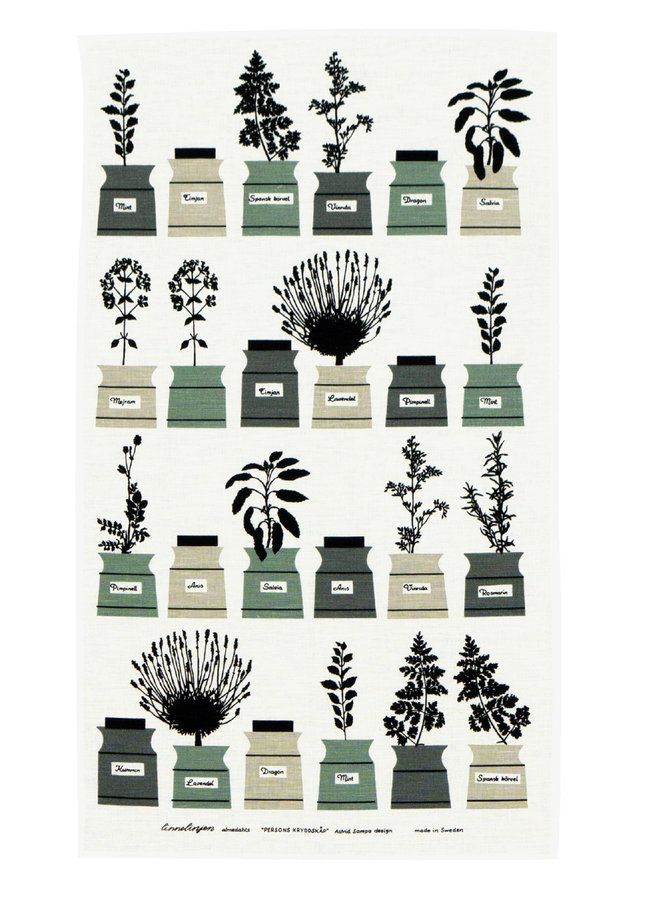 Almedahls spice rack tea towel with image various spice jars in green / gray