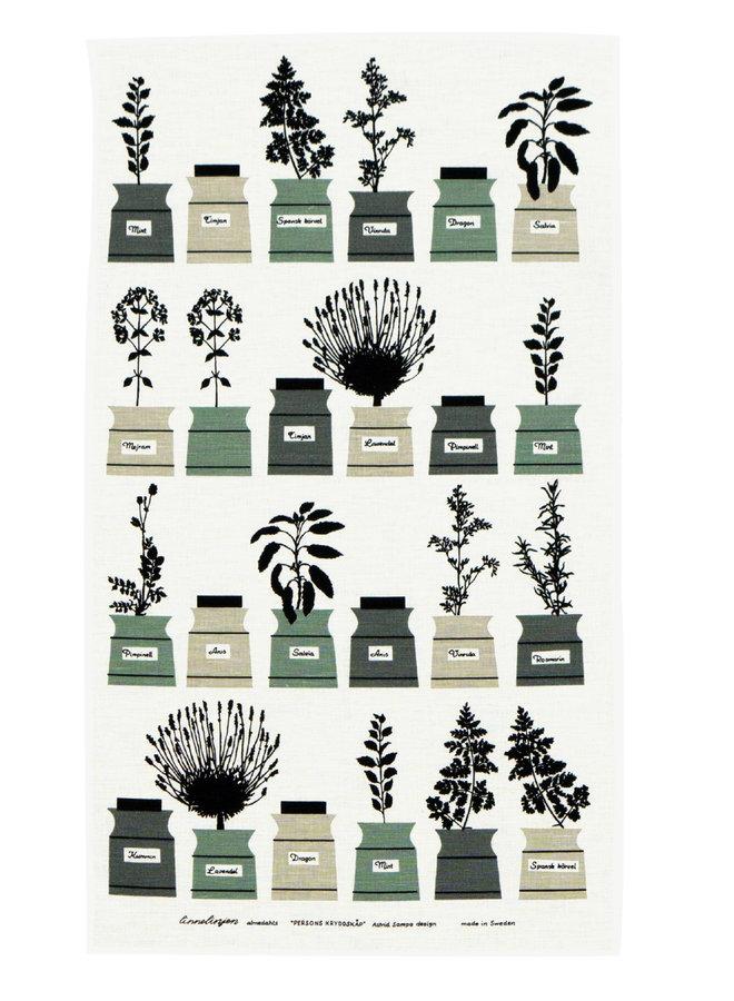 Gewürzregal Geschirrtuch mit Bild verschiedene Gewürzdosen in grün / grau