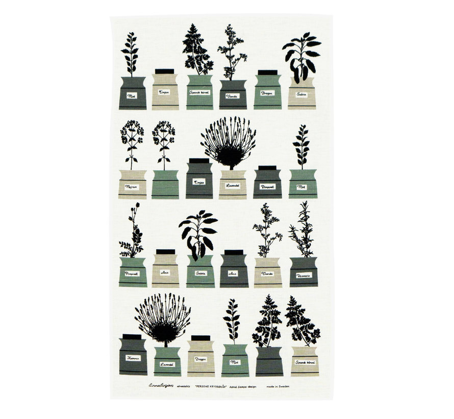 spice rack tea towel with image various spice jars in green / gray