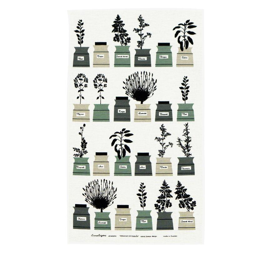 kruidenrek theedoek met afbeelding diverse kruidenpotjes in groen/grijs