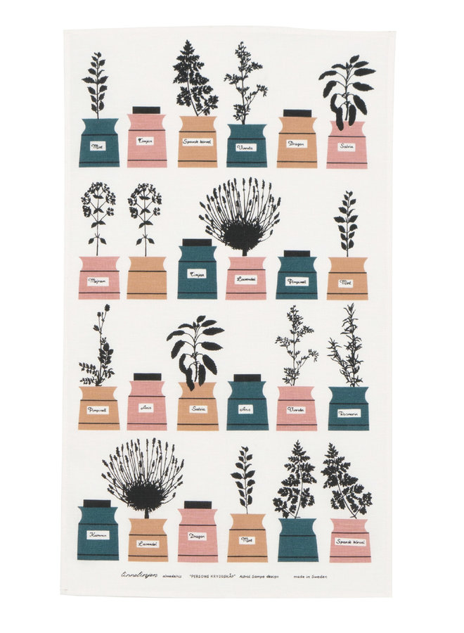 Almedahls spice rack tea towel with image various spice jars in green / pink