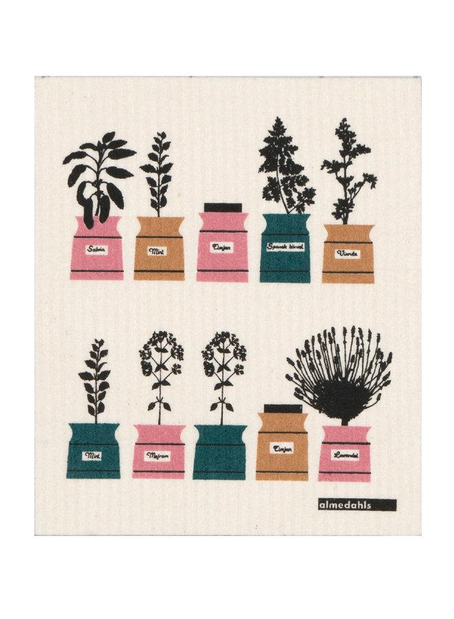 Zweedse vaatdoek/sponsje met kruidenrek afbeelding in groen/rose