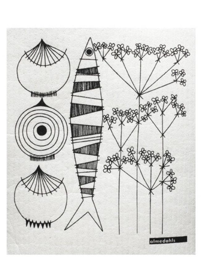 Almedahls Schwedisches Geschirrtuch mit Zwiebeln, Fisch und Dill in schwarz /weiß