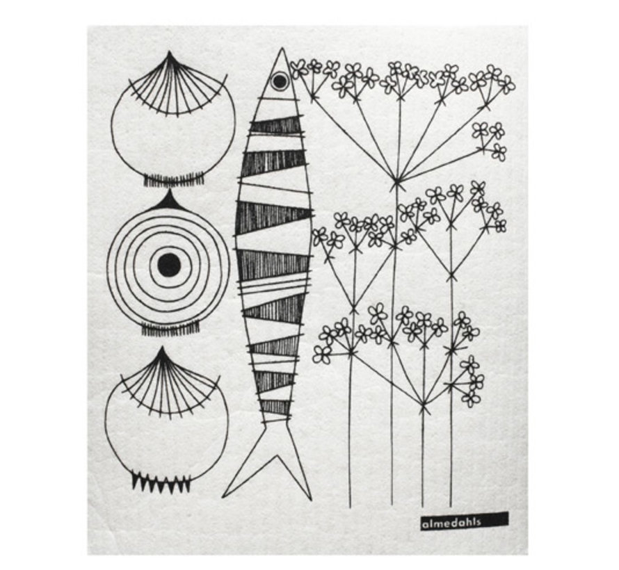 Swedish dishcloth /sponge with onions, fish and dill in black /white