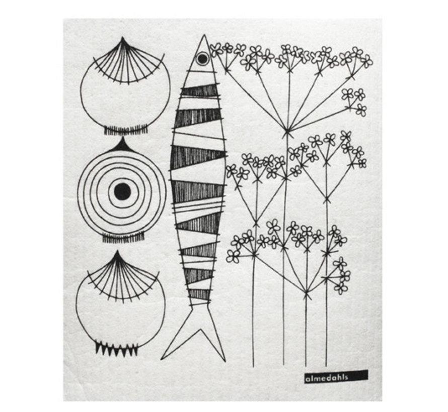Zweedse vaatdoek/sponsje Picknick met afbeelding uien, vis en dille in zwart/wit