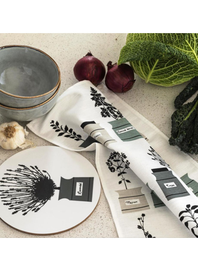 Almedahls Swedish dishcloth /sponge with onions, fish and dill in black /white
