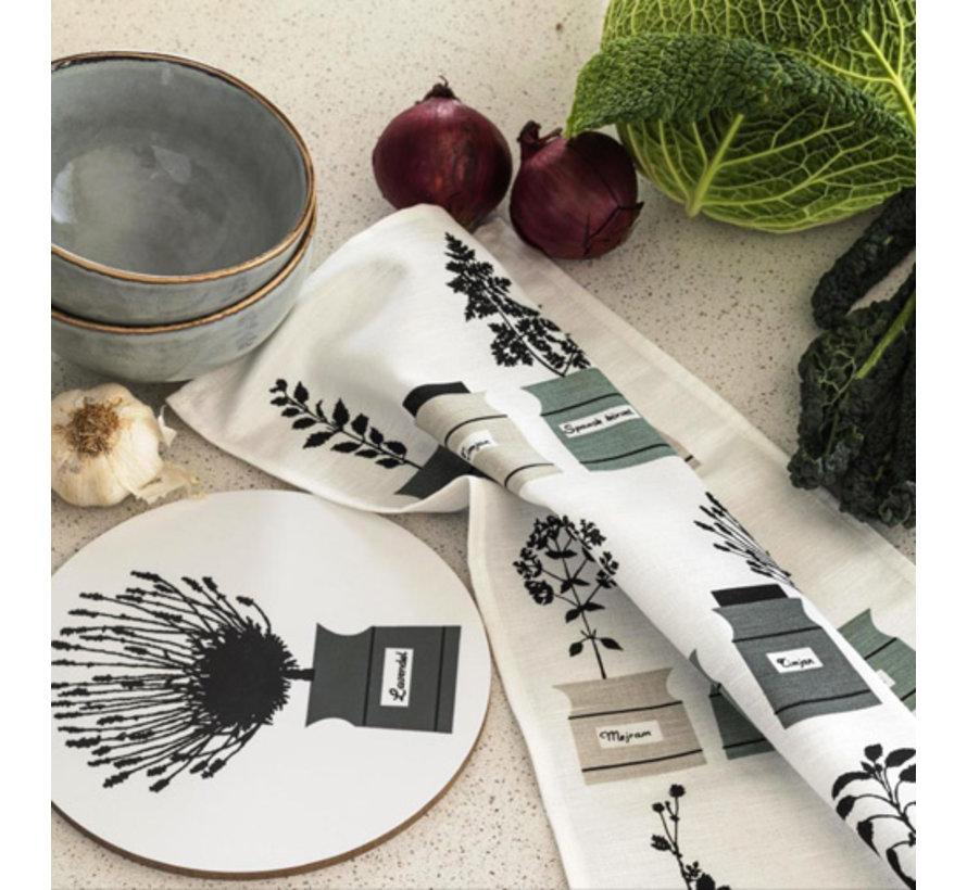 Schwedisches Geschirrtuch mit Zwiebeln, Fisch und Dill in schwarz /weiß