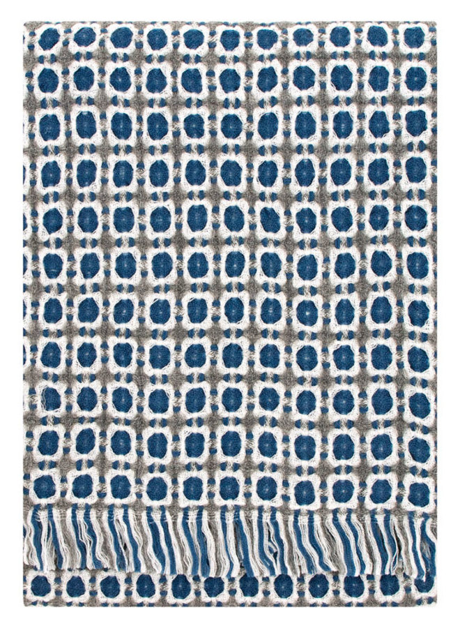 Lapuan Kankurit zachte wollen deken Corona in blauw/grijs