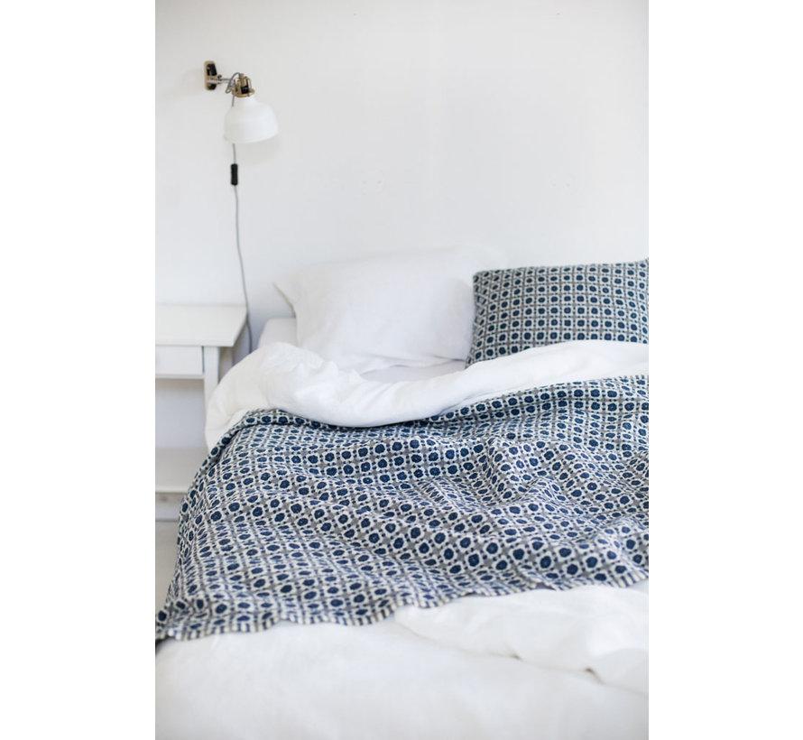 Zachte wollen deken Corona in blauw/grijs