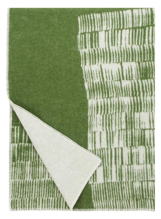 100% Wolldecke / Plaid grün-weiß Uitto 130 x 180 cm