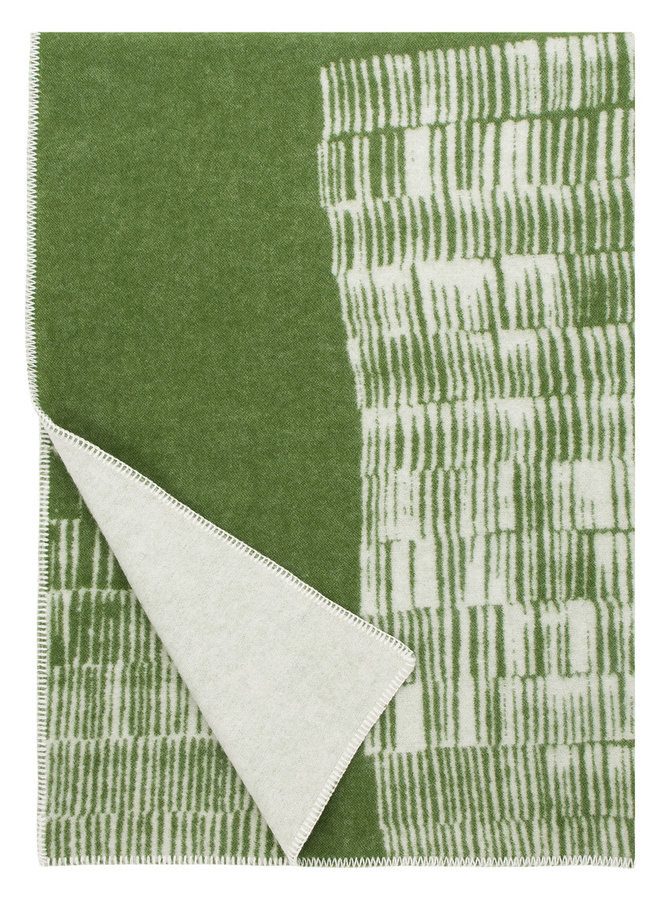 100% wool blanket / plaid green-white Uitto 130 x 180 cm