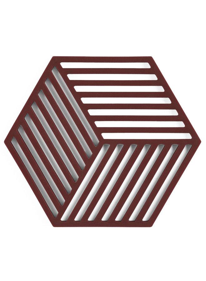 Sechseckiger Untersetzer in Rosinenfarbe Hexagon