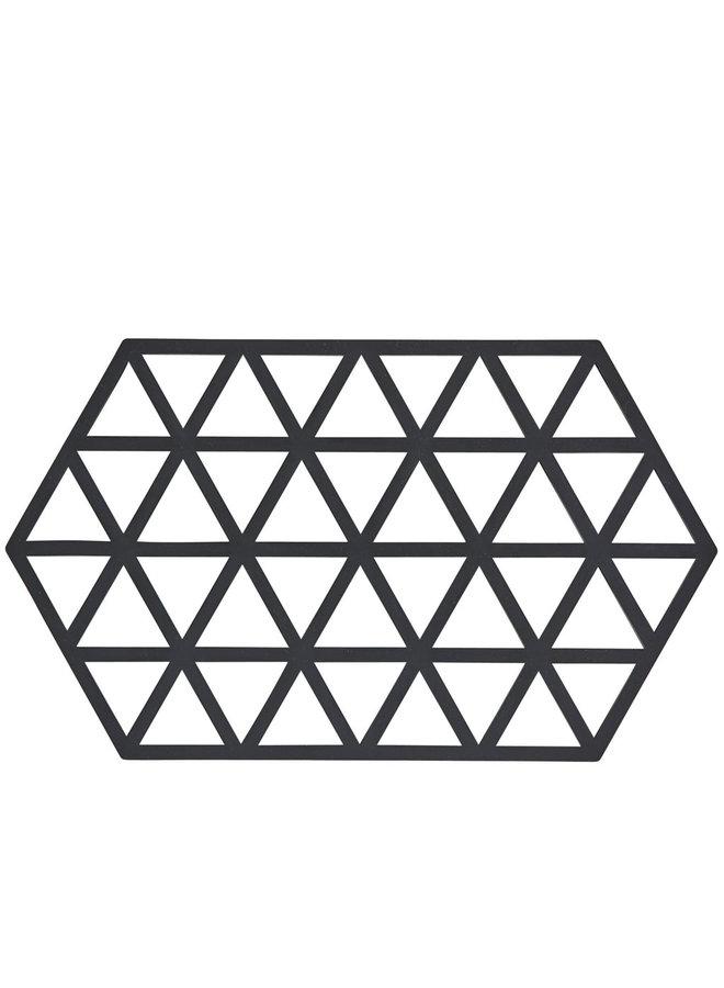 zeshoekige zwarte onderzetter Triangle