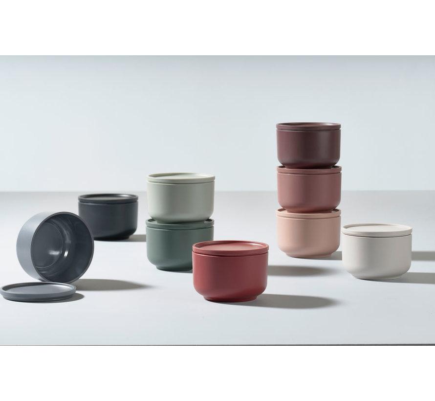 3 bowls Peili 9 cm diameter in Nude, Siena Red, Plum