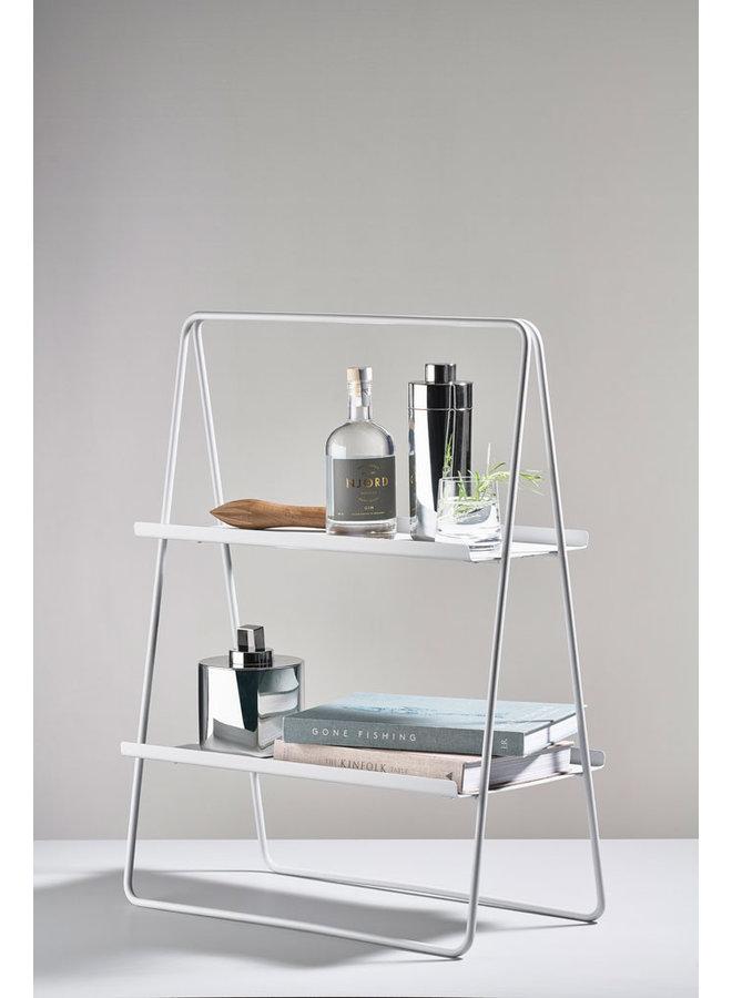 weichgrauer Metall-Beistelltisch A-Tisch