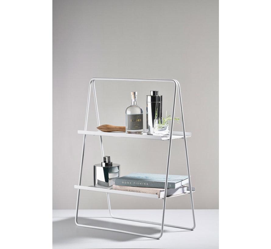 zacht grijze metalen bijzet tafel A-tafel