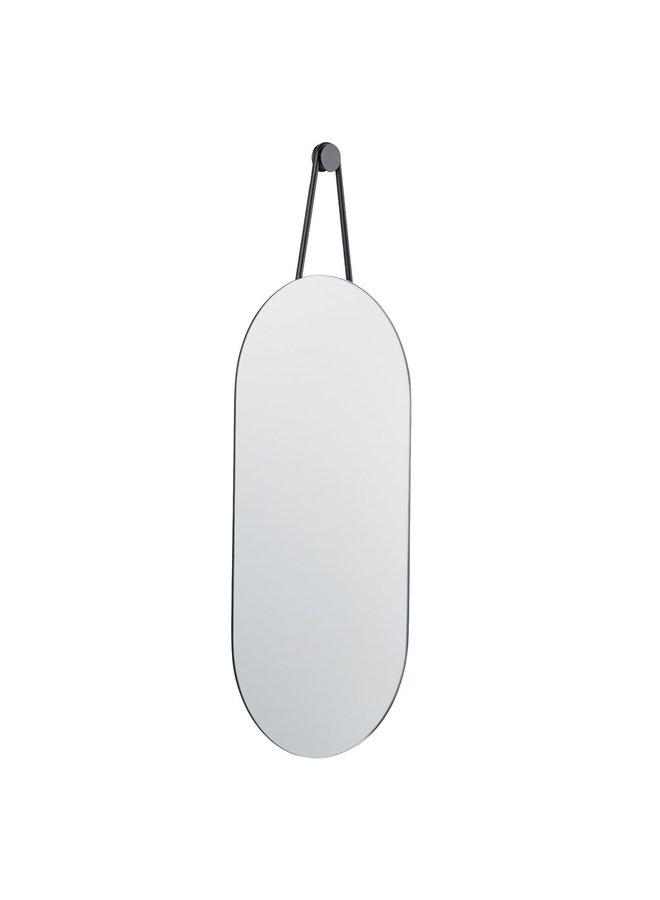 Spiegel Ein Spiegel mit schwarzem Aufhängeriemen