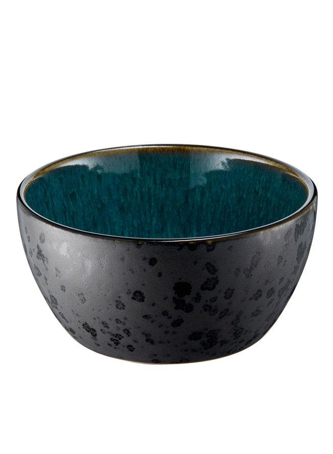 ceramic bowl in black with green inside, 12 cm diameter