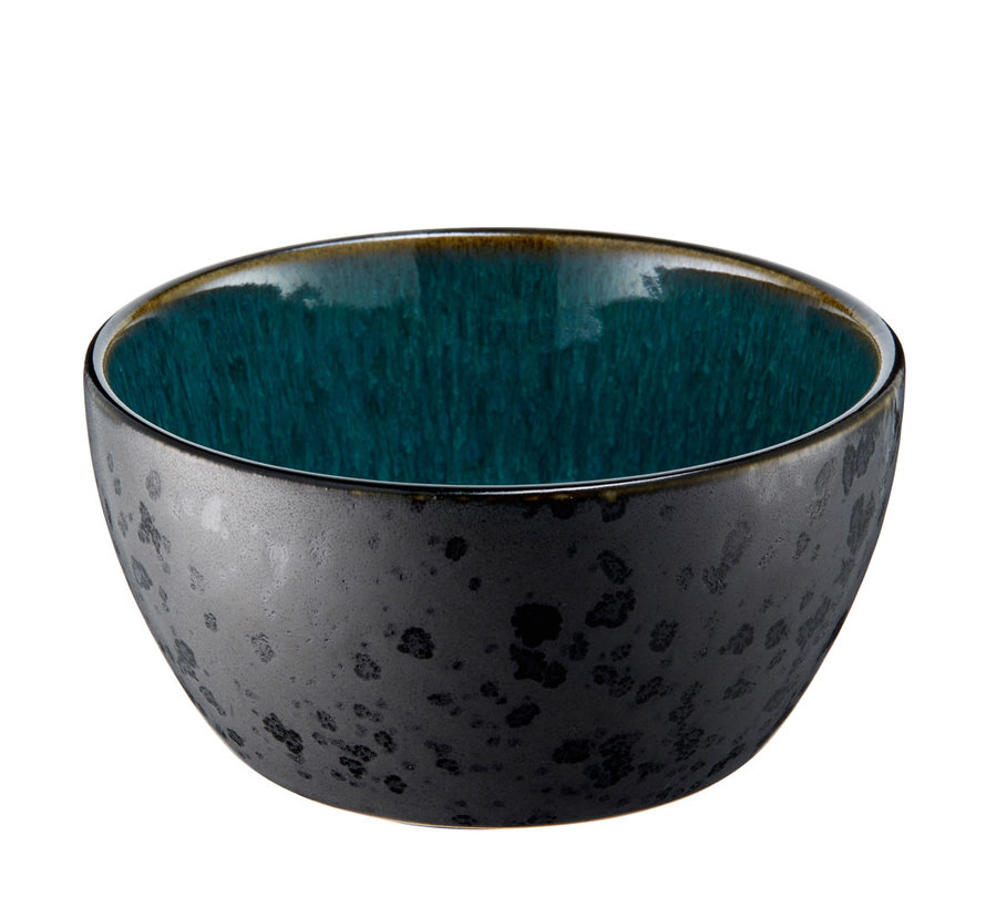 keramiek schaaltje in zwart met groene binnenkant, 12 cm doorsnede