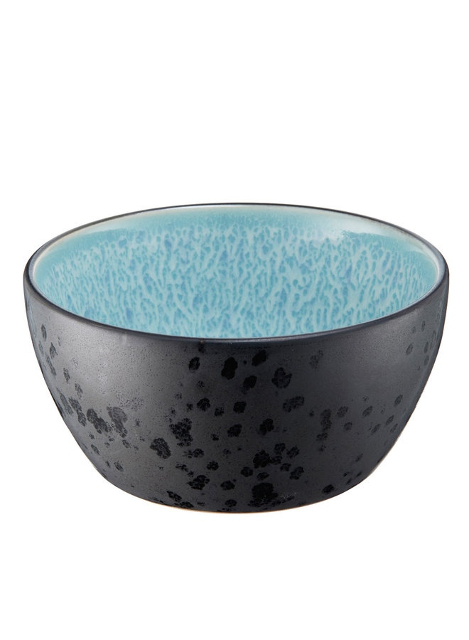 ceramic bowl in black with light blue interior, 12 cm diameter