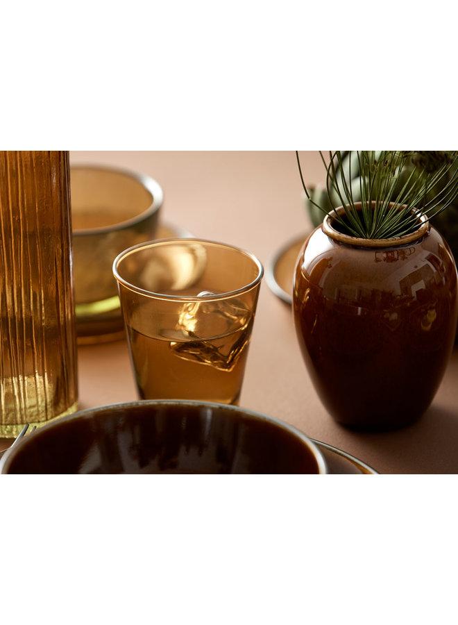 Bitz ceramic bowl in black with amber inside, 12 cm diameter