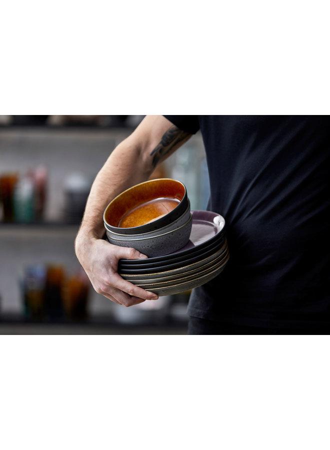 ceramic bowl in black with amber inside, 12 cm diameter