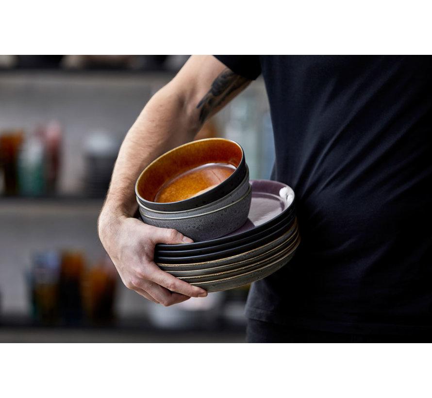 Keramikschale in schwarz mit Bernstein innen, 12 cm Durchmesser