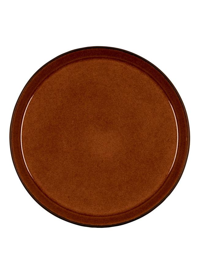 zwart/amber dinerbord, 27 cm doorsnede