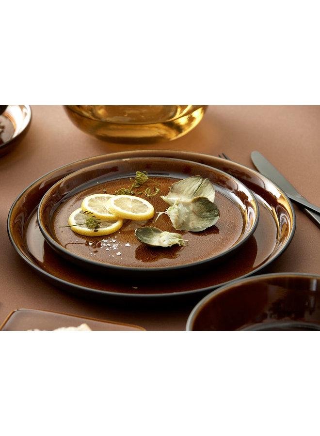 black / amber dinner plate, 27 cm diameter