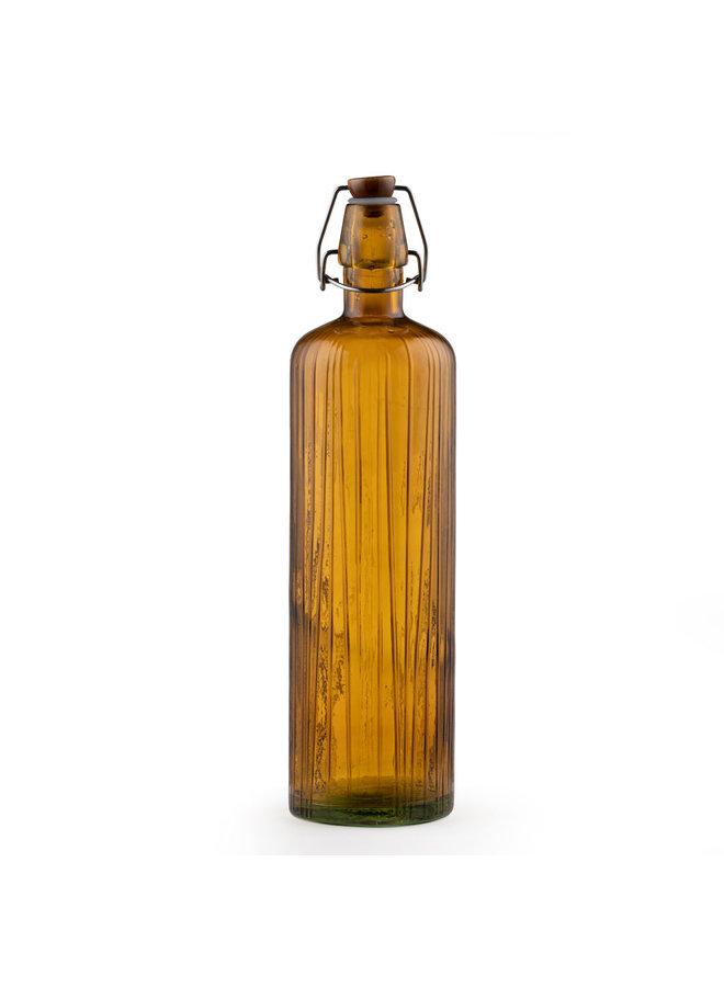 bernsteinfarbene Wasserflasche mit Keramikverschluss