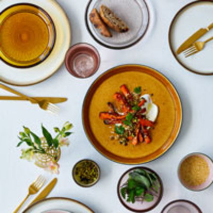 Colorful tableware and glassware from Denmark