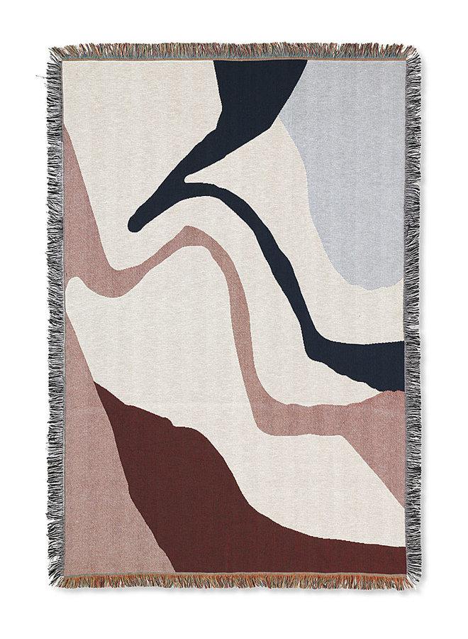 plaid Vista met abstracte patronen in offwhite en aardetinten