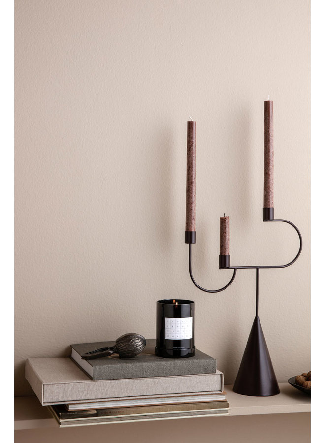 candlestick Candelabra Dark Aubergine with cone foot and three candle holders