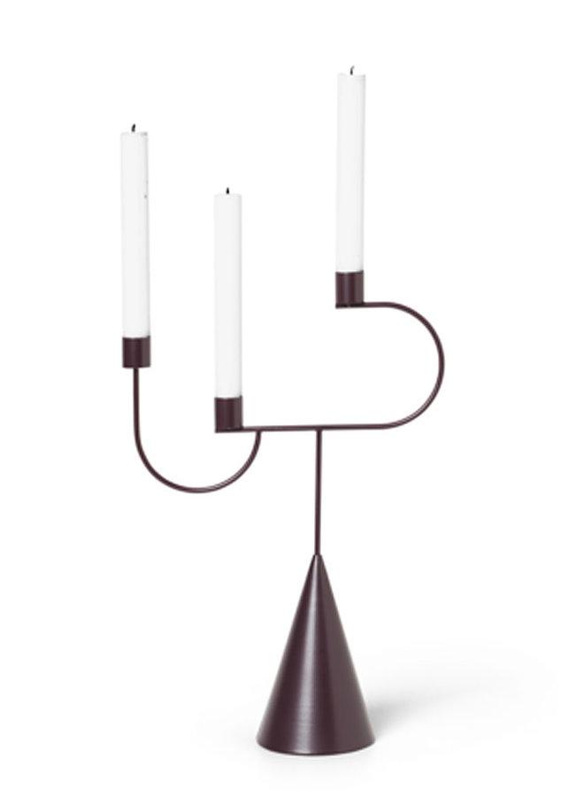 Kerzenständer Candelabra dark aubergine mit Zapfenfuß und drei Kerzenhaltern