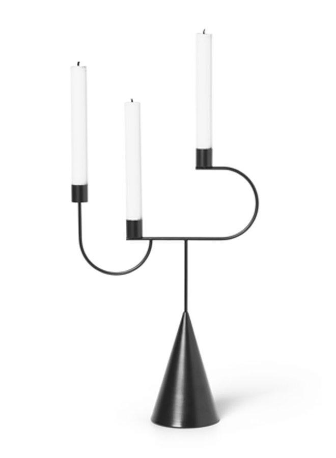 Ferm Living Kerzenständer Candelabra schwarz mit Zapfenfuß und drei Kerzenhaltern