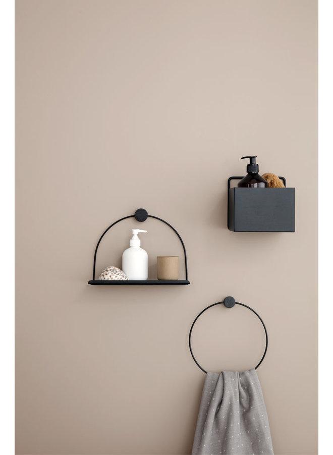 metalen zwarte wandplank badkamer