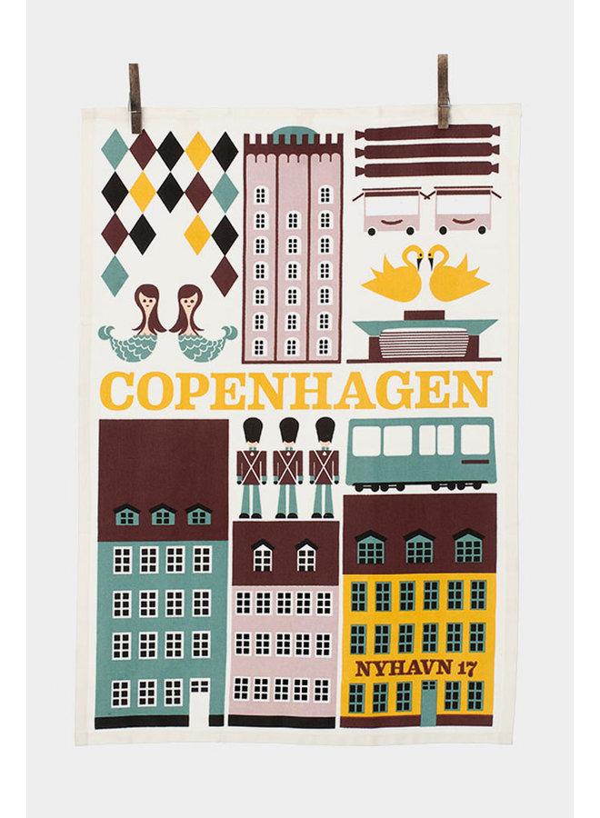 Ferm Living hand-printed Copenhagen tea towel made of 100% organic cotton