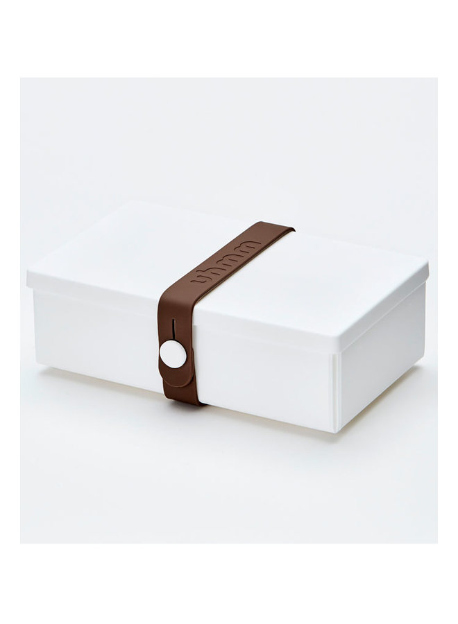 white folding lunch box that you can also use as a plate. With brown strap.