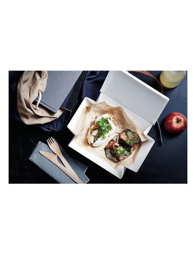 witte vouwbare lunchbox die je ook als bord kunt gebruiken. Met bruine strap.