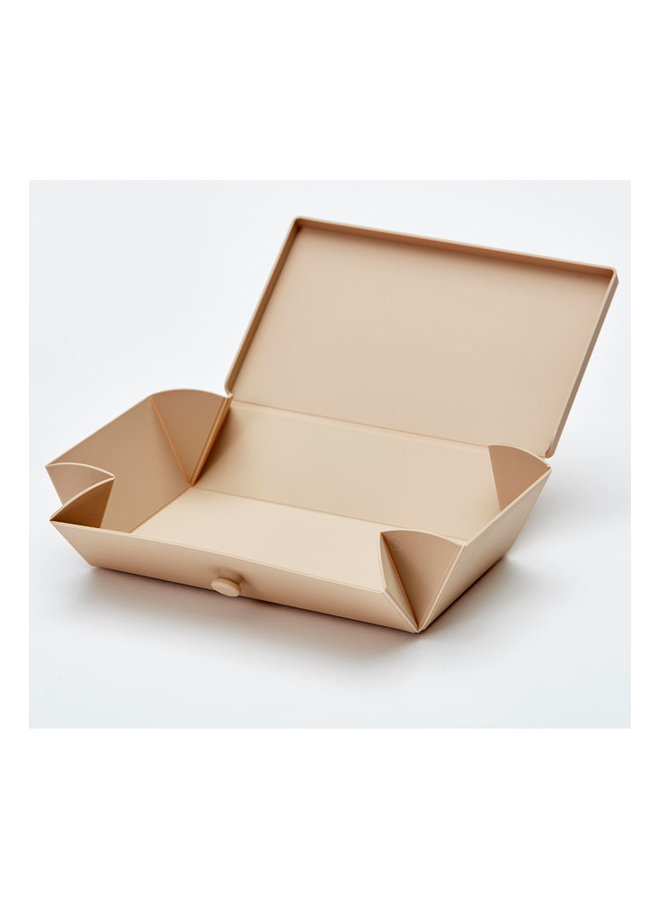 mocha folding lunch box that you can also use as a plate. With brown strap.