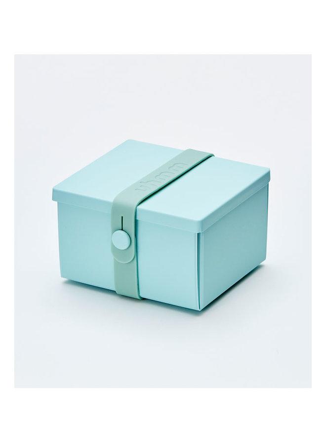 mint groene vouwbare lunchbox die je ook als bord kunt gebruiken. Met mint strap.